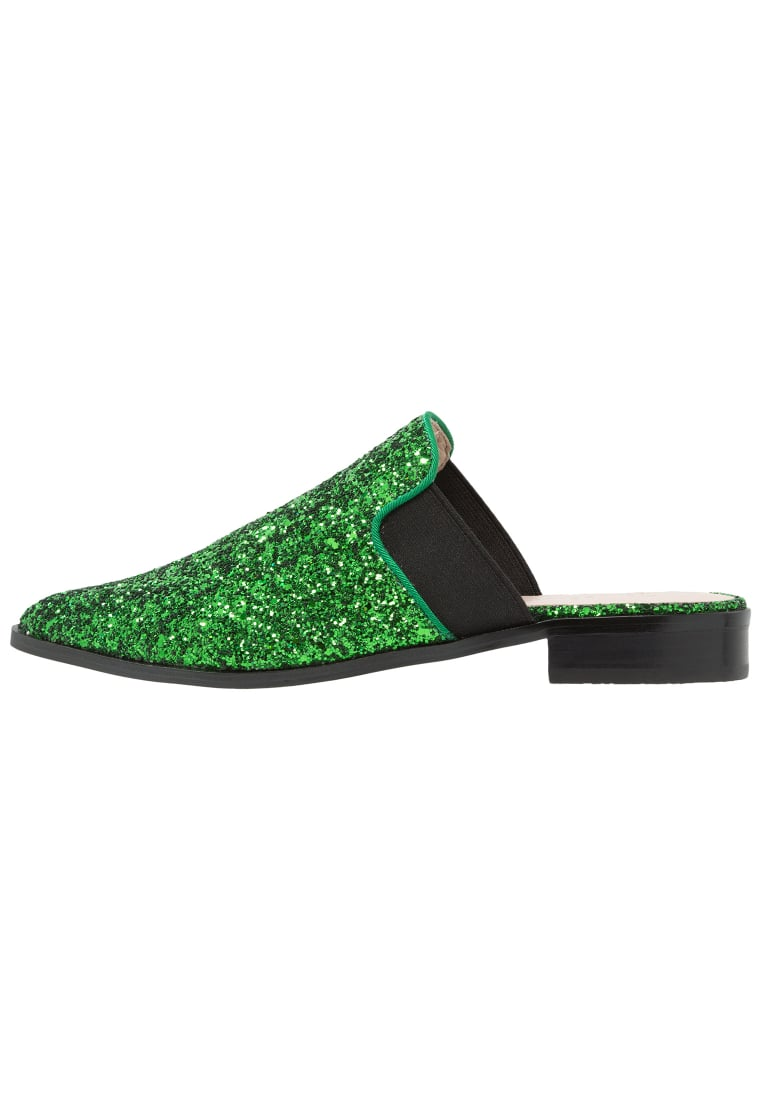 Shellys London DONEEN Klapki green glitter