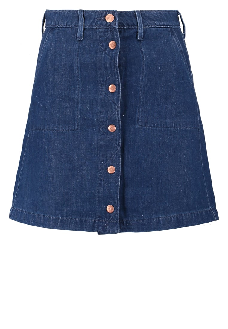 Lee BUTTON THROUGH SKIRT Spódnica jeansowa just worn rinse