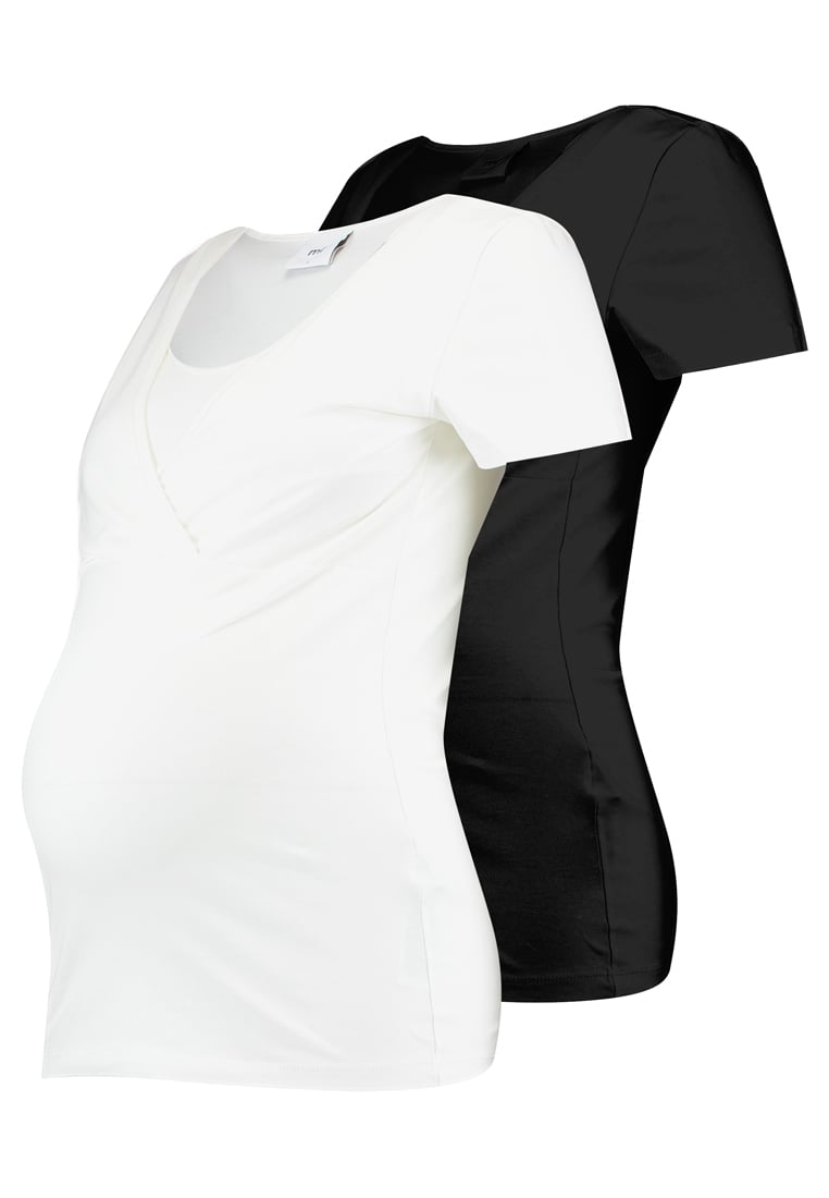 MAMALICIOUS 2 PACK Tshirt basic black/white - 20007856