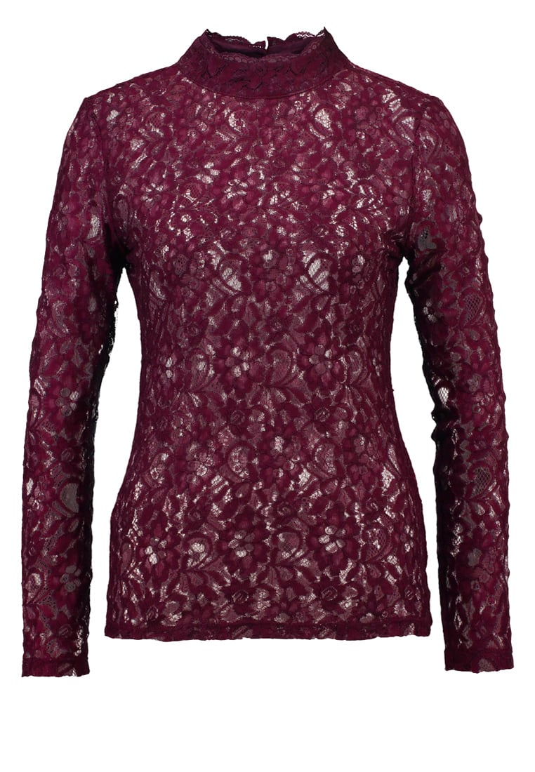 Oasis Bluzka grape - LACE LS HIGH NECK TOP