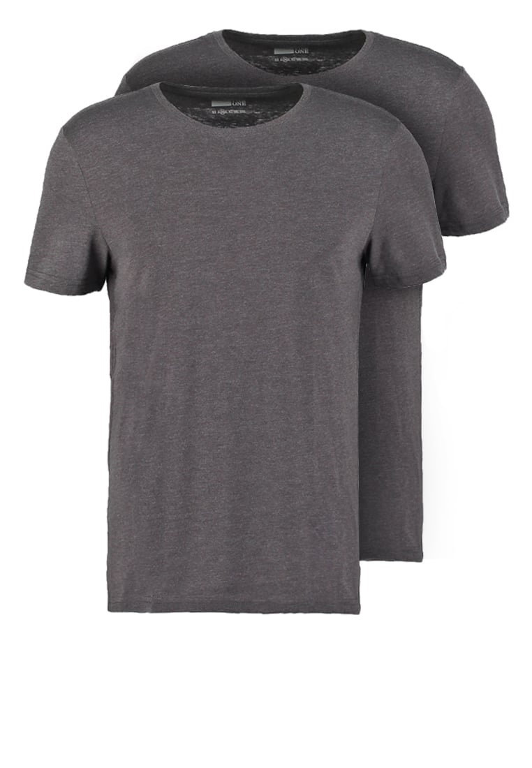 Pier One 2 PACK Tshirt basic dark grey melange - PM-BAS0-0112