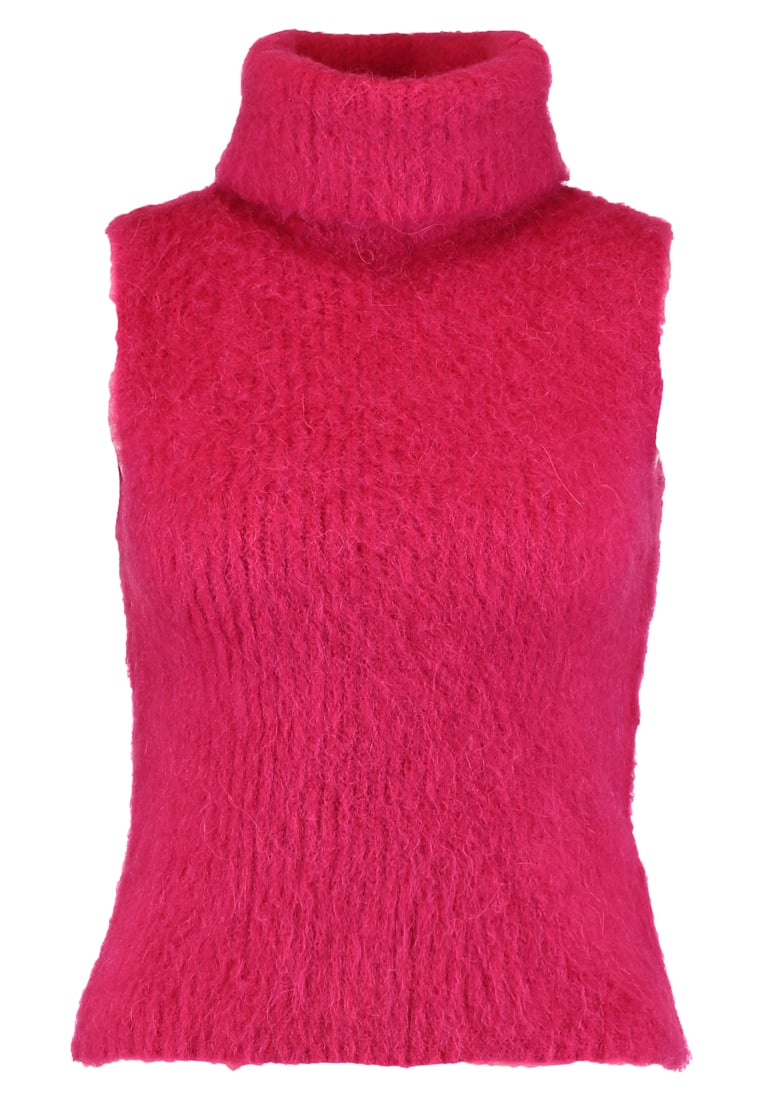 Topshop BOUTIQUE FLUFFY ROLL KNIT Sweter bright pink