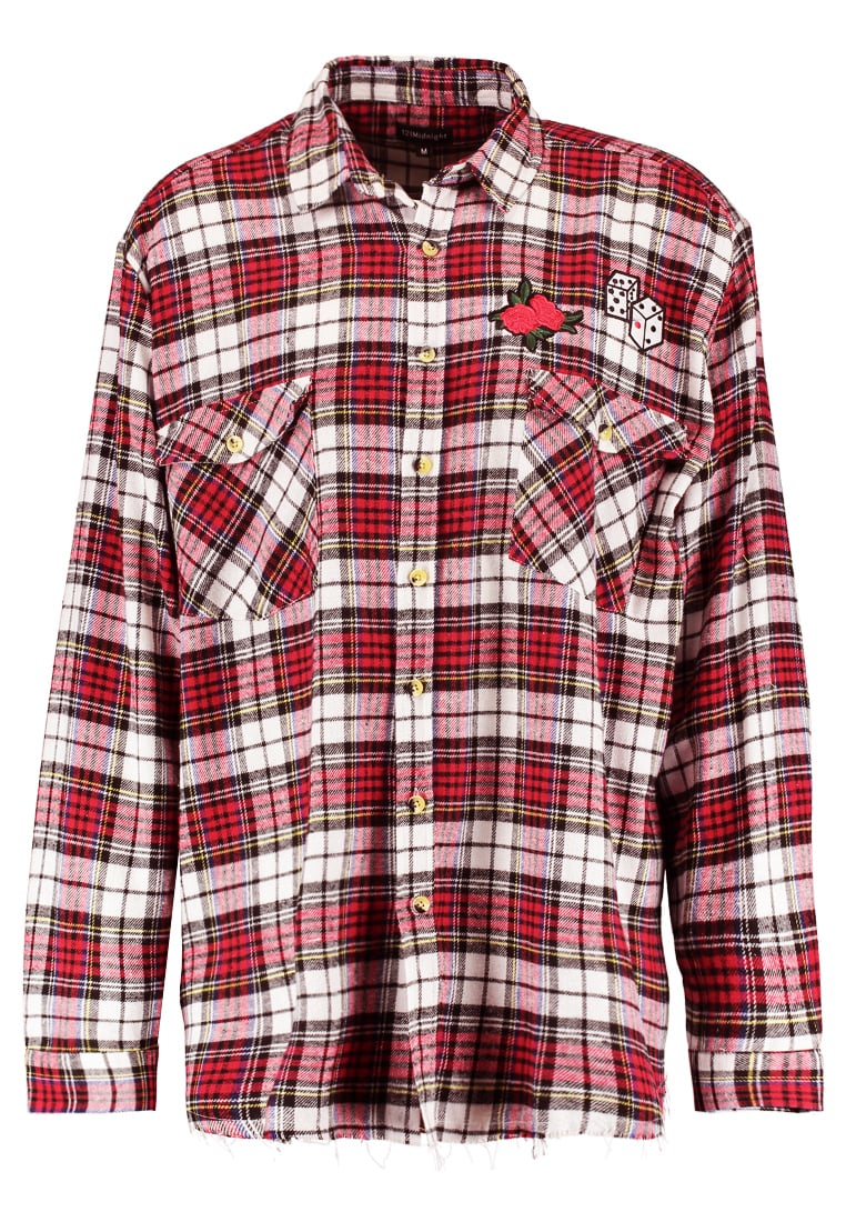 12 Midnight CHECK SHIRT WITH SEWN PATCHES Koszula red - ZMS002
