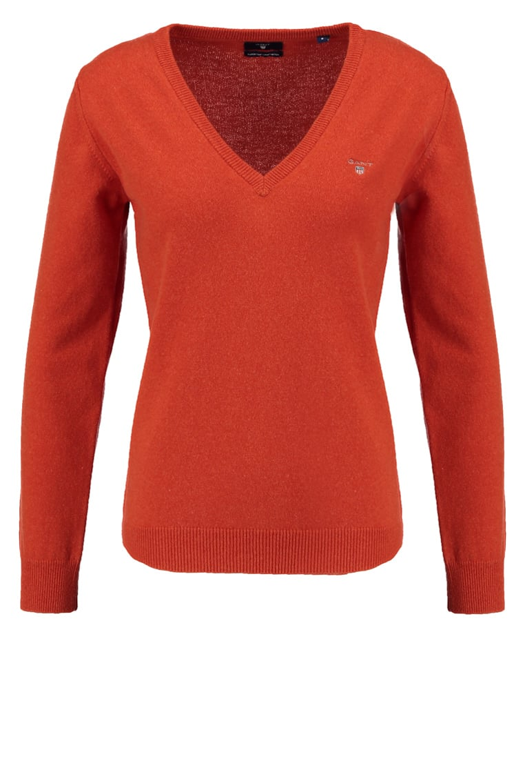 GANT SUPER FINE VNECK Sweter orange