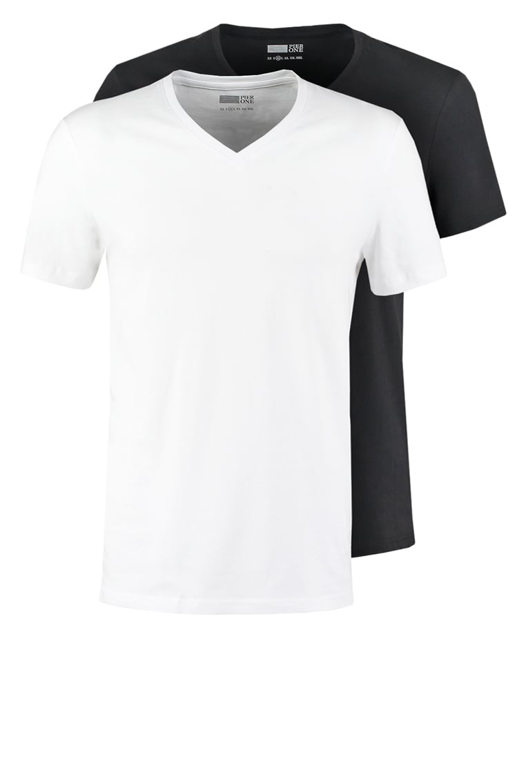 Pier One 2 PACK Tshirt basic white/black - PM-BAS0-0113