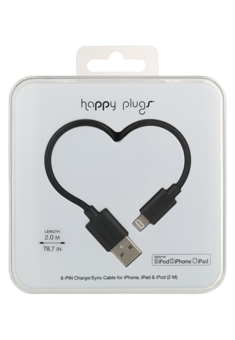 Happy Plugs Pozostałe black - Happy Plugs Lightning to USB Charge/Sync Cable (2.0m)