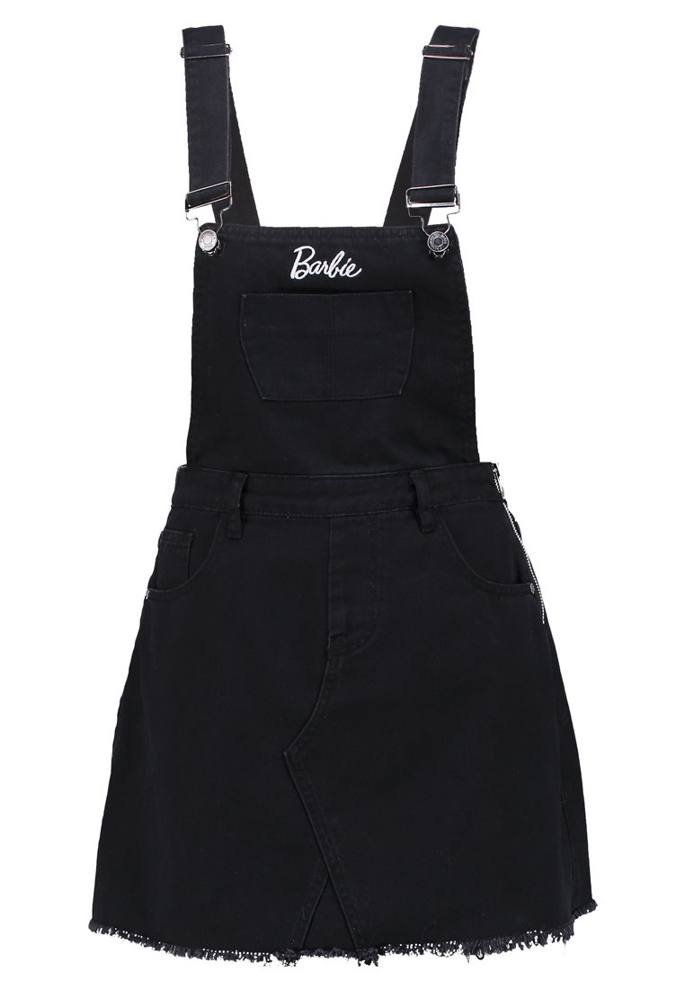 Missguided BARBIE DUNGAREE Spódnica trapezowa black - WSG1803969