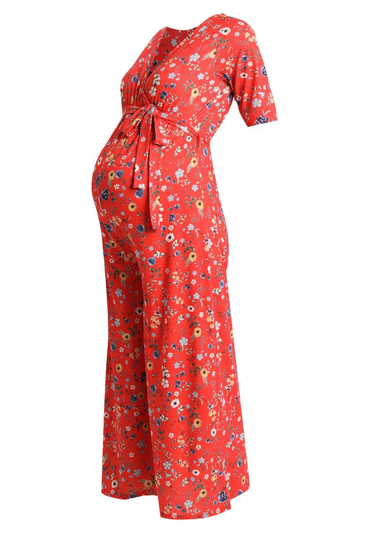 Bluebelle Maternity FLORALCULLOTTES Kombinezon red - MTY1043