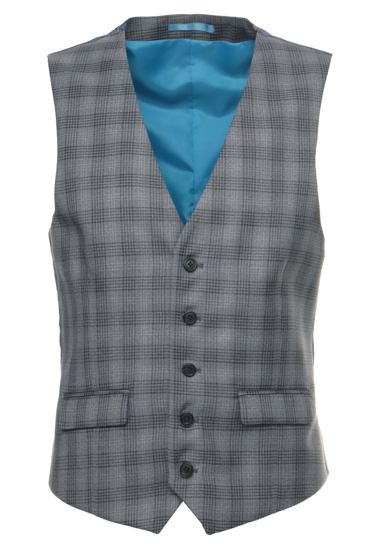 Burton Menswear London CHAR CHECK Kamizelka garniturowa grey - 02S06MGRY