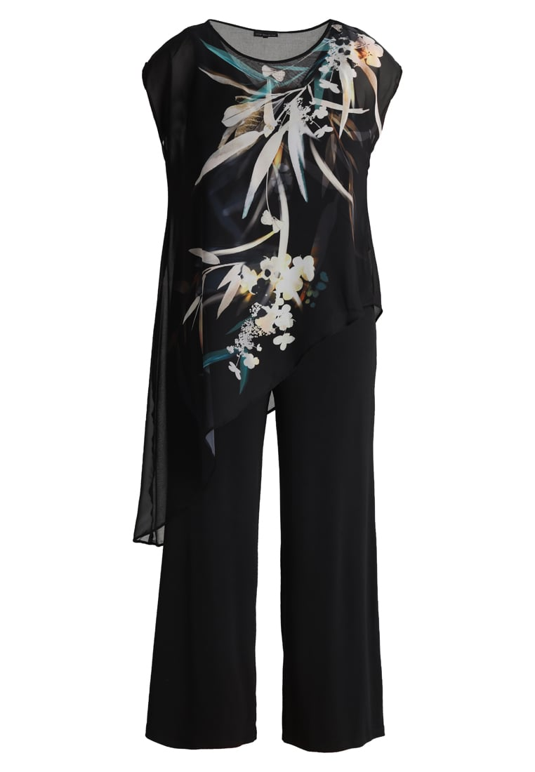 Live Unlimited London BAMBOO FLORAL PLACEMENT OVERLAY Kombinezon black - LU696