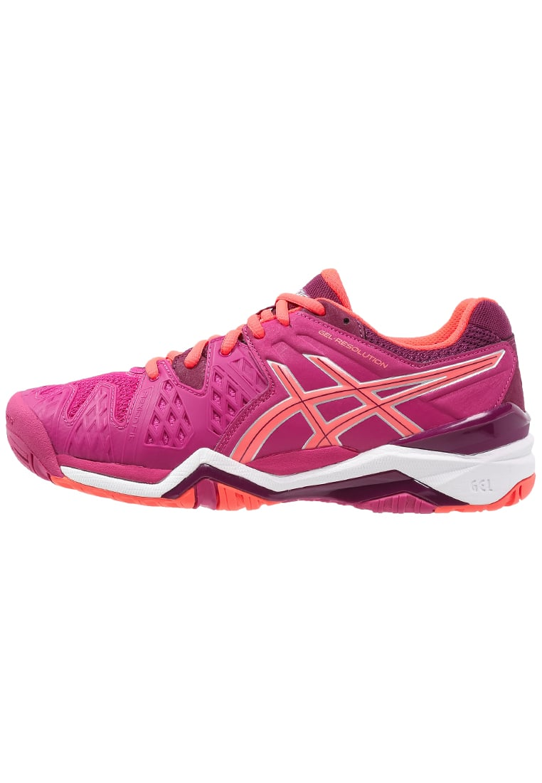 ASICS GELRESOLUTION 6 Buty multicourt berry/flash coral/plum - E550Y