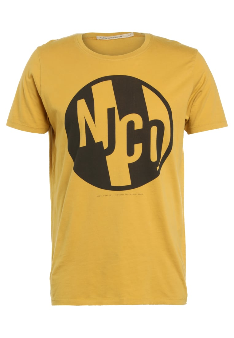 Nudie Jeans ANDERS Tshirt z nadrukiem royal yellow - 131522