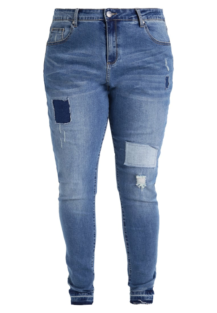 City Chic JEAN PATCH WORK Jeansy Slim fit mid denim - 00124589