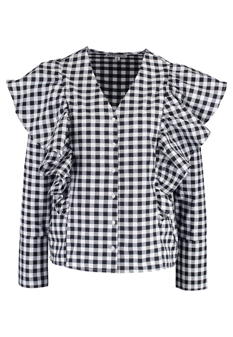 Neon Rose GINGHAM RUFFLE Bluzka black/white - NRTP333