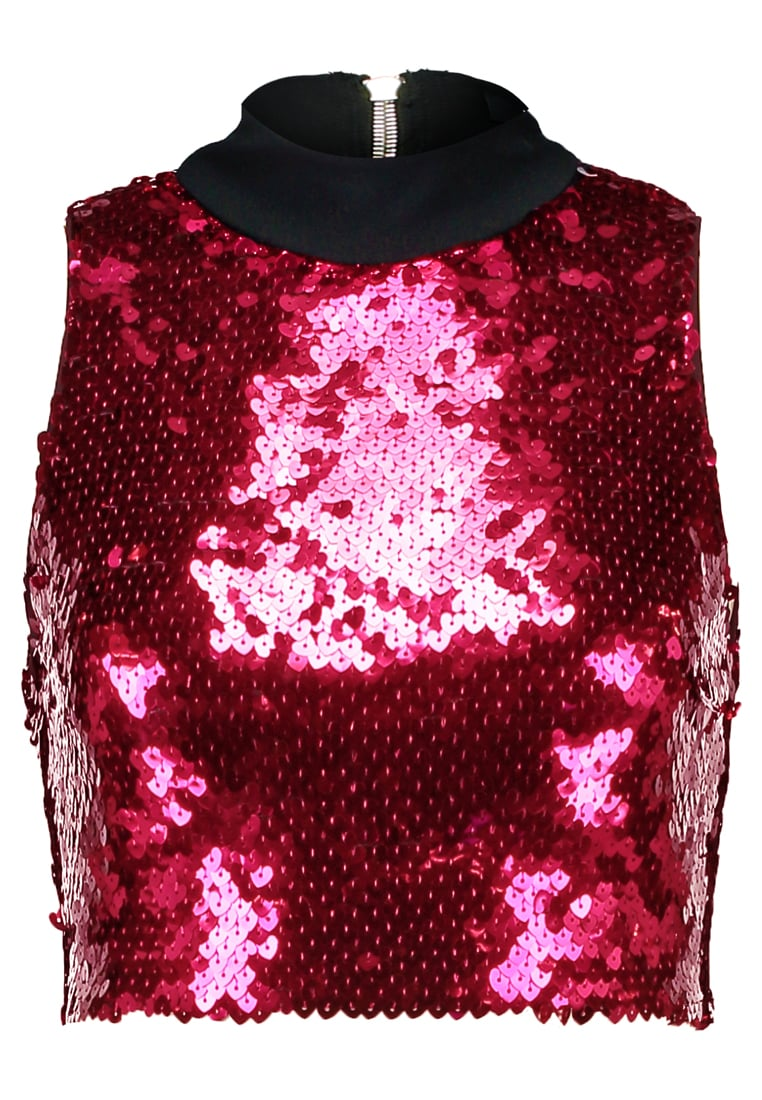 Jaded London HIGH NECK CROP WITH EXPOSED BACK ZIP IN HEART SEQUIN Top red - JWT209H