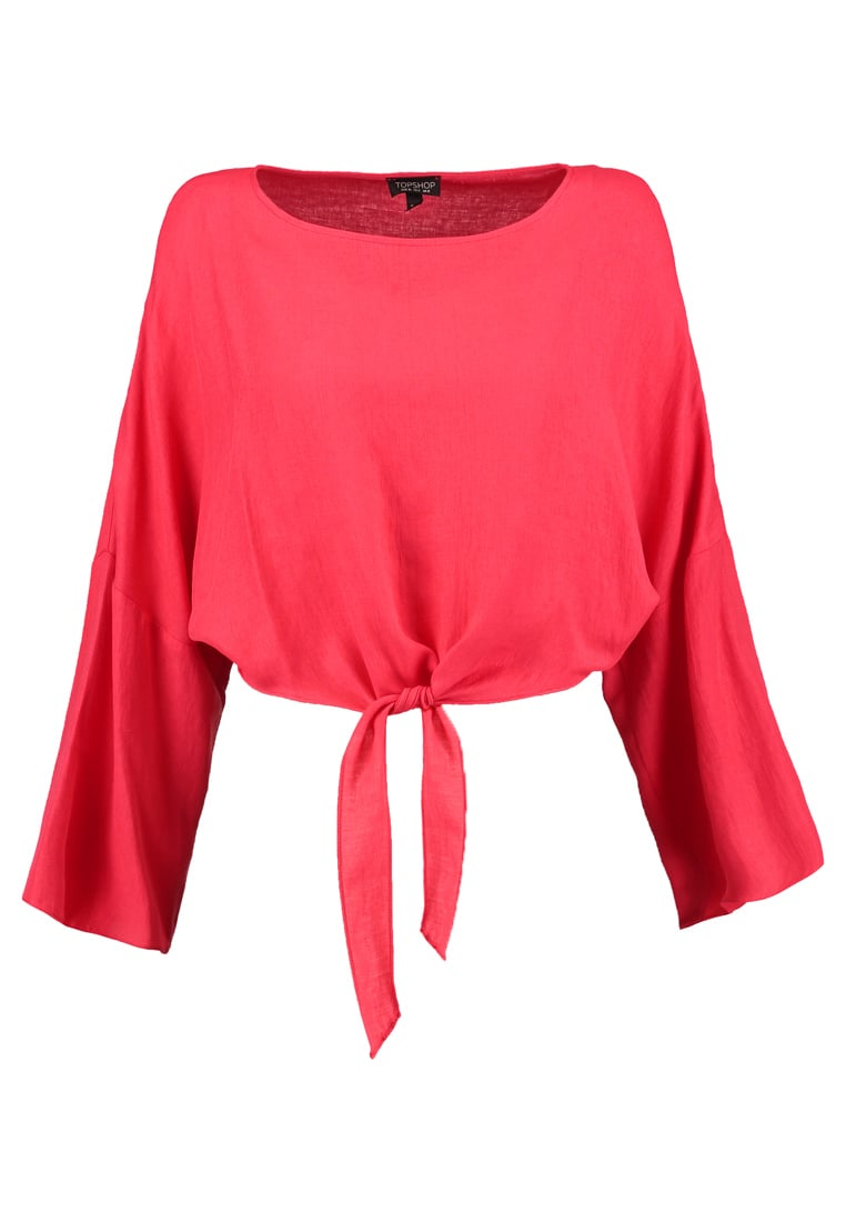 Topshop KNOT FRONT Bluzka red
