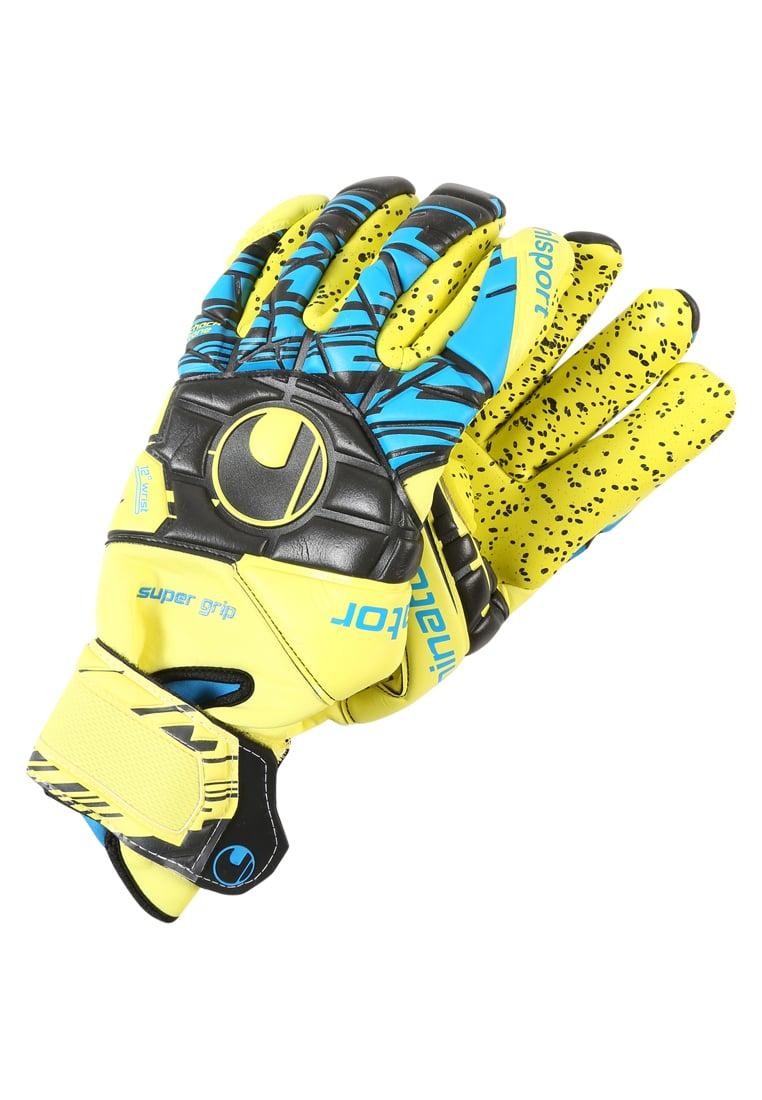 Uhlsport ELIMINATOR SPEED SUPERGRIPFINGER SURROUND Rękawice bramkarskie lite fluo gelb/schwarz/hydro blau - 1011005