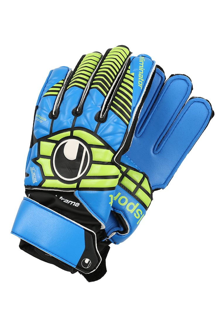 Uhlsport ELIMINATOR SOFT Rękawice bramkarskie schwarz/blau/power green - 1000178