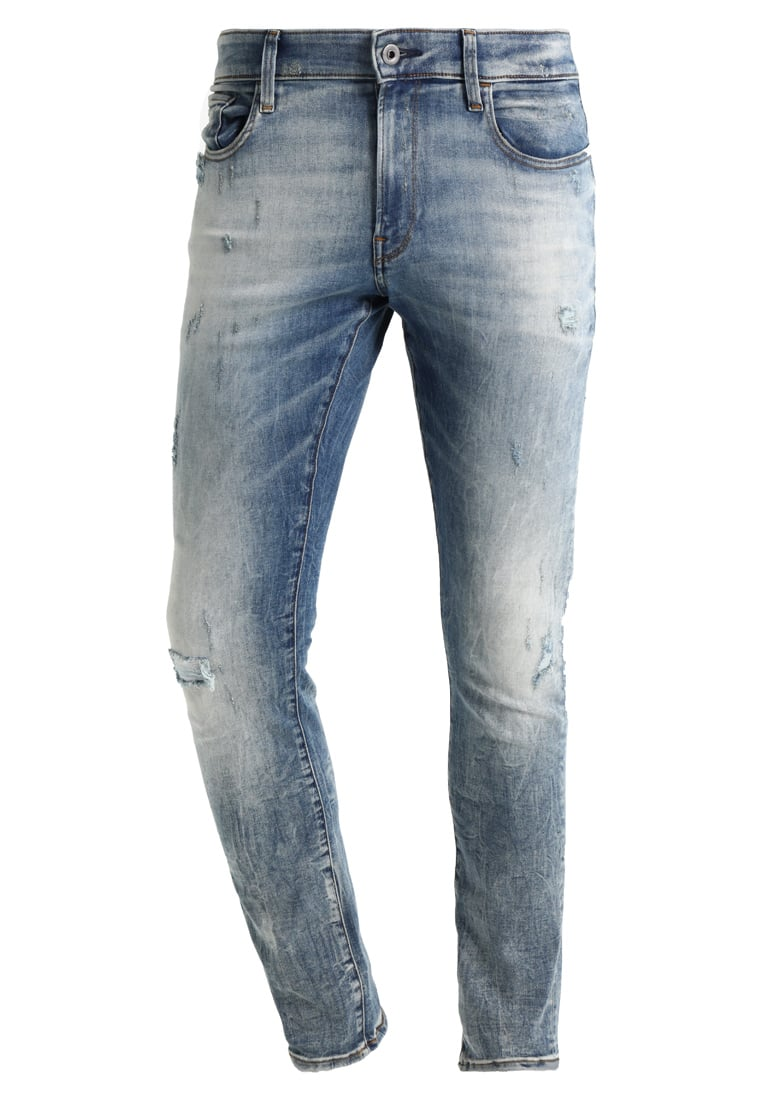 GStar 3301 DECONSTRUCTED SUPER SLIM Jeansy Slim Fit blue denim - D01159