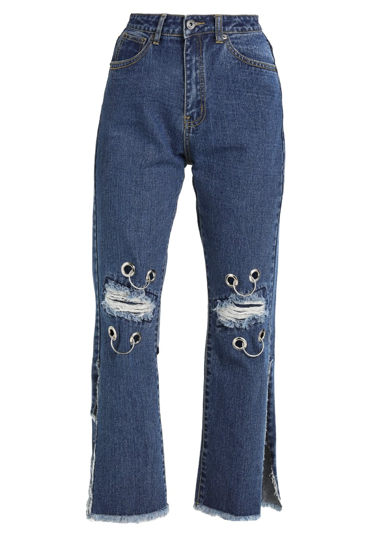 Liquor N Poker LAX MOM JEAN WITH EYELET AND RIPPED KNEE Jeansy Relaxed fit stonewash - c911