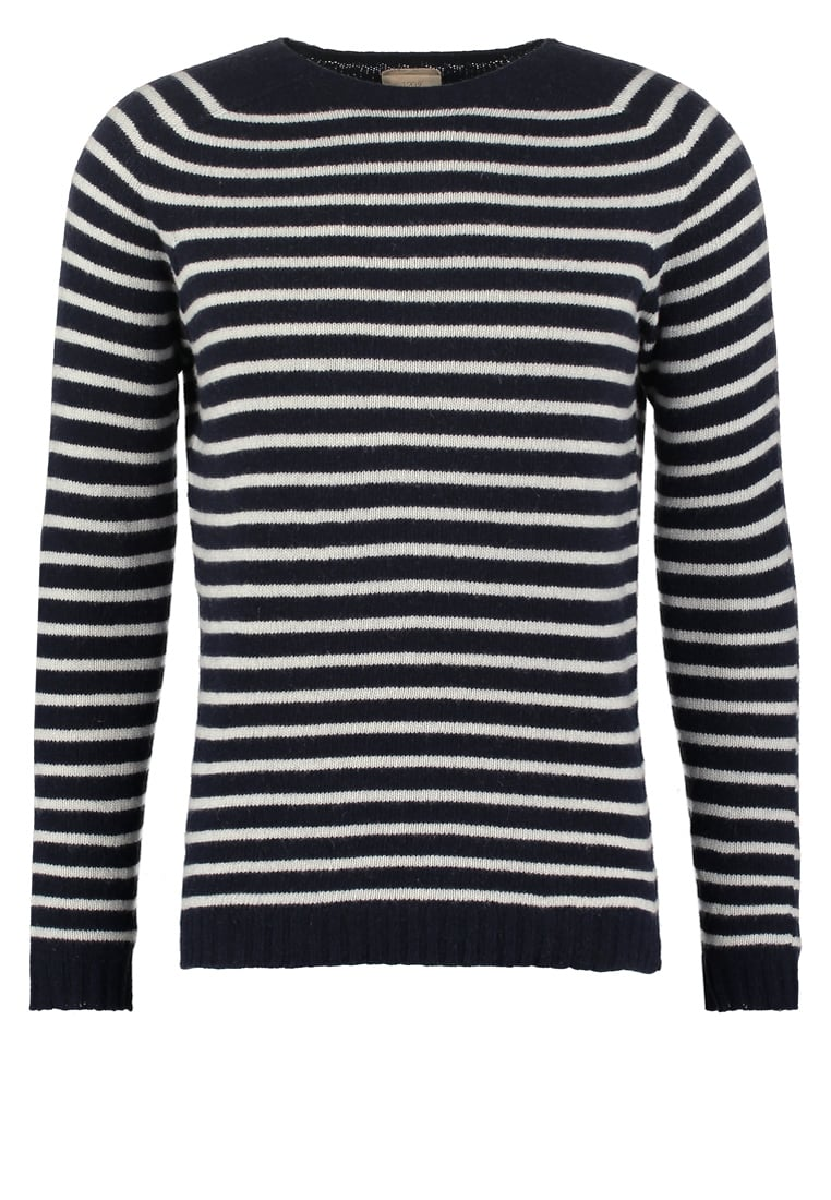 120% Cashmere Sweter white/blue