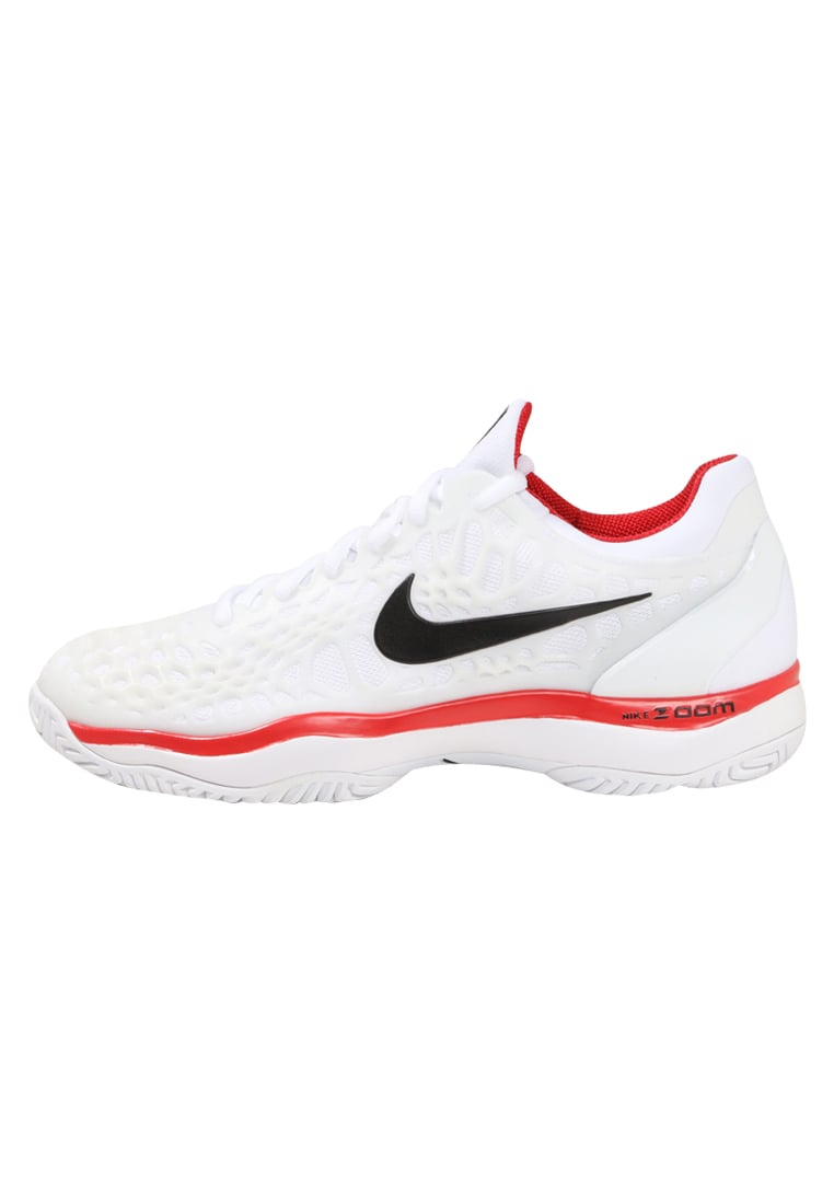 Nike Performance AIR ZOOM CAGE 3 HC Buty multicourt white/black/university red - 918193