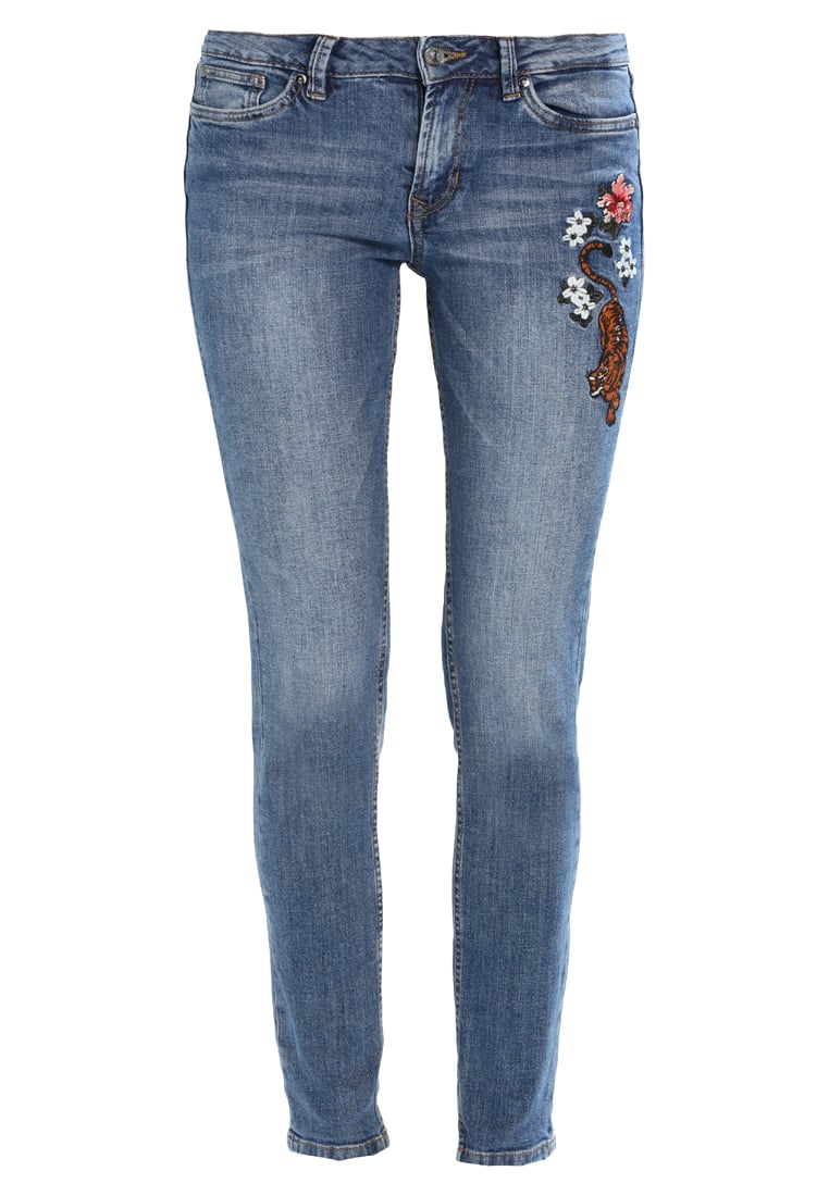 TOM TAILOR DENIM STELLA EMBROIDERED Jeansy Slim fit mid stone wash denim