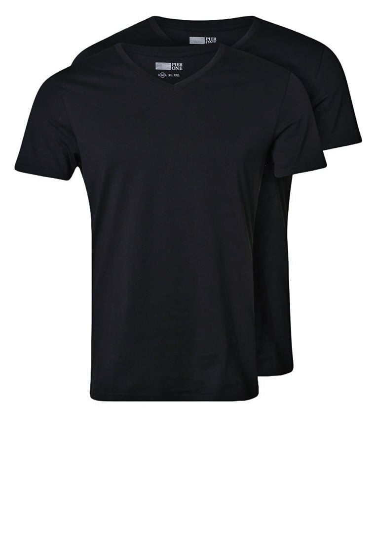 Pier One 2 PACK Tshirt basic black - PM-BAS0-0113