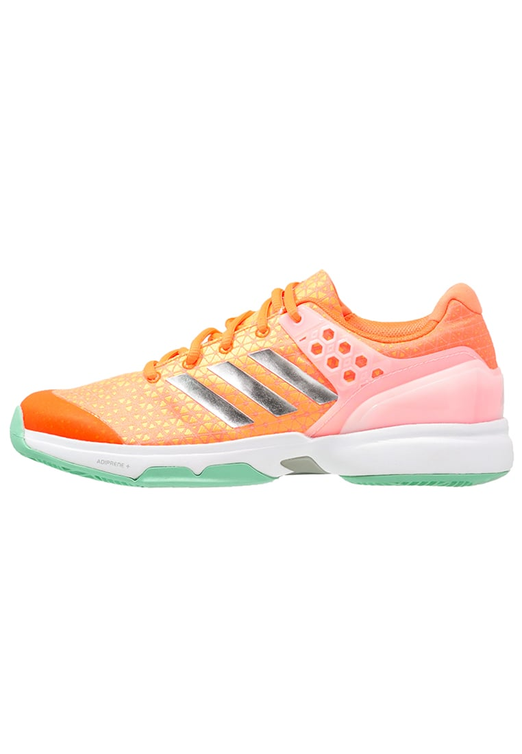 adidas Performance ADIZERO UBERSONIC 2 Buty do tenisa Indoor glow orange/silver metallic/samba blue - KDJ20
