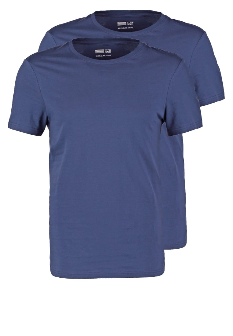 Pier One 2 PACK Tshirt basic dark blue - PM-BAS0-0112