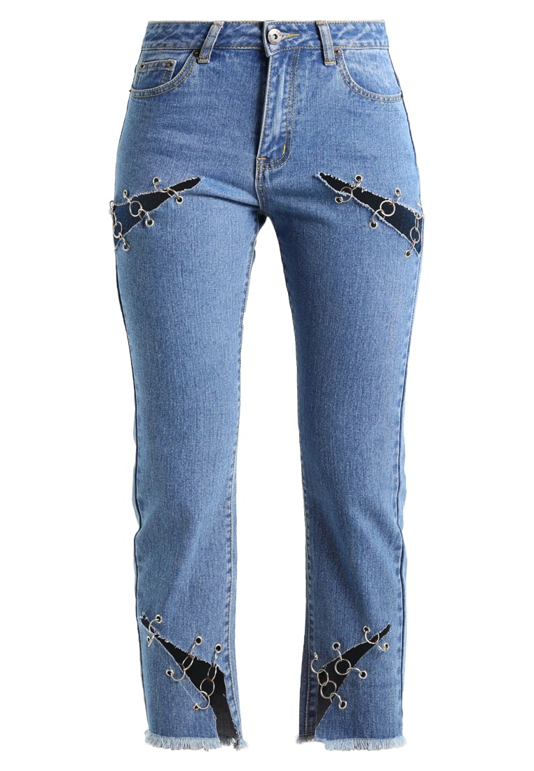 Liquor N Poker LAX MOM JEAN WITH EYELET Jeansy Relaxed fit stonewash - c913