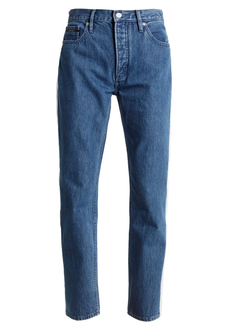 Calvin Klein Jeans STRAIGHT TAPED Jeansy Straight Leg dark blue/white