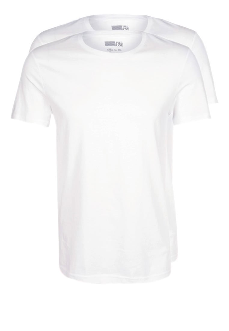 Pier One 2 PACK Tshirt basic white - PM-BAS0-0112