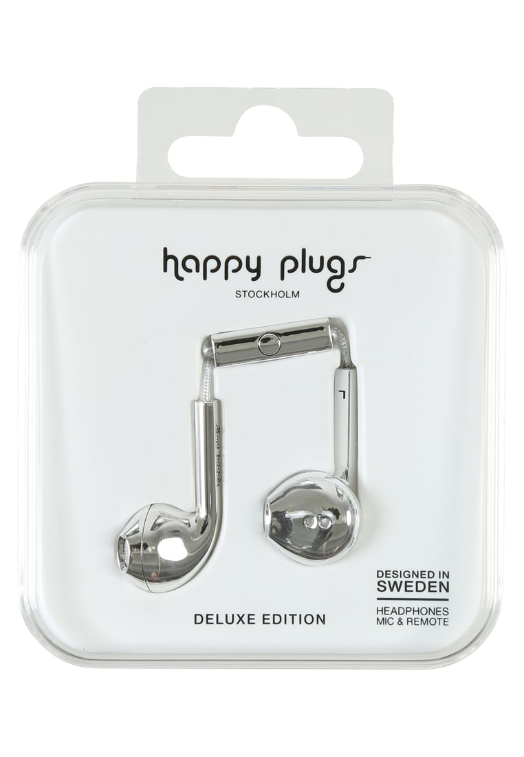 Happy Plugs PLUS DELUXE Słuchawki silver - Happy Plugs Earbud Plus Deluxe