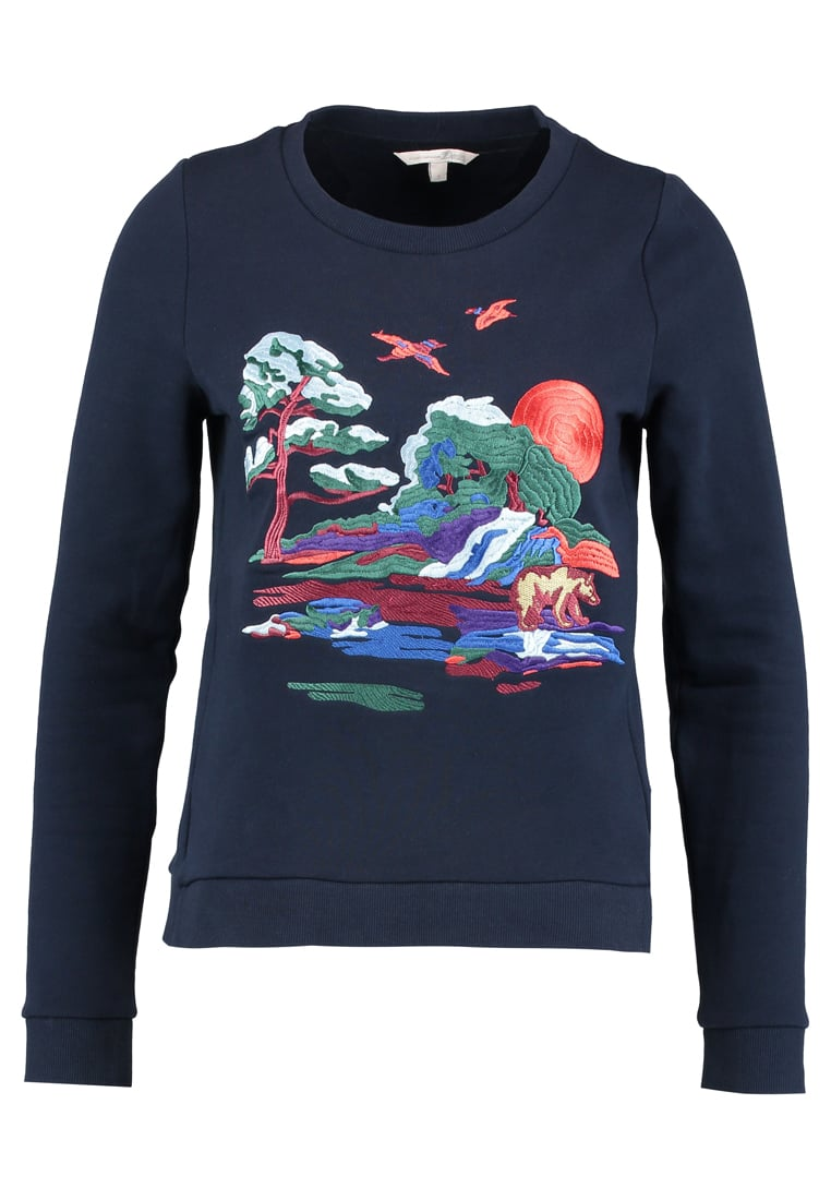 TOM TAILOR DENIM EMBROIDERED SWEATER CREW NECK  Bluza real navy blue