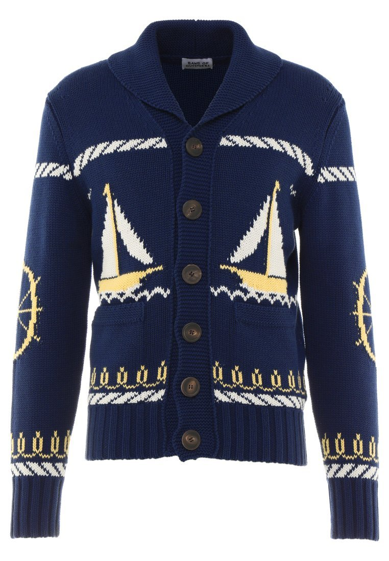 Band of Outsiders CABLE BOAT JACKET Kardigan navy - KC0002CK502