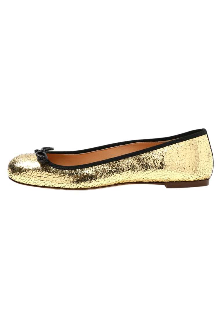 J.CREW CRACKLE FRANKLIN BALLET Baleriny gold black