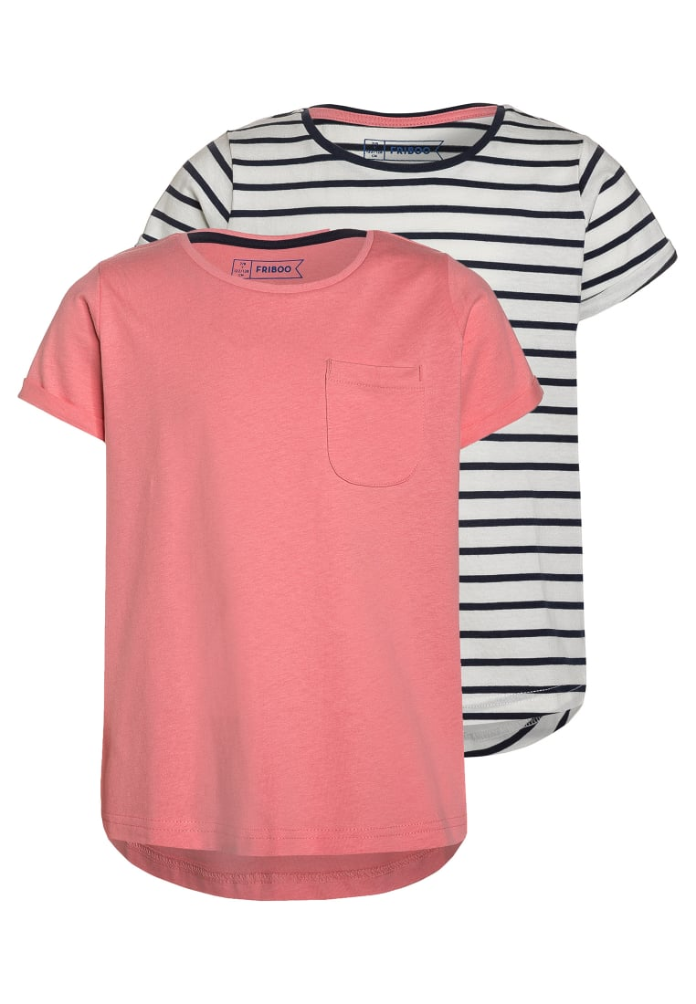 Friboo 2 PACK Tshirt basic blanc de blanc/navy/salmon rose - T-Shirt Set 1 2Pack Tees