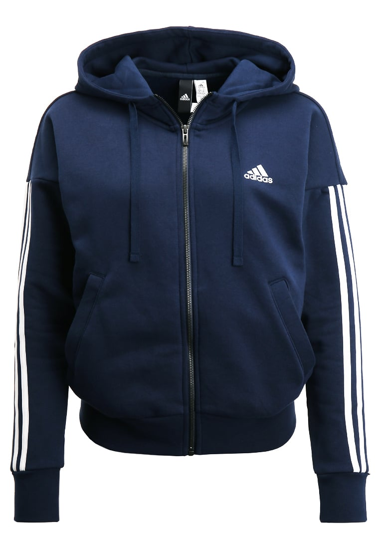 adidas Performance ESSENTIALS Bluza rozpinana navy/white - BX372