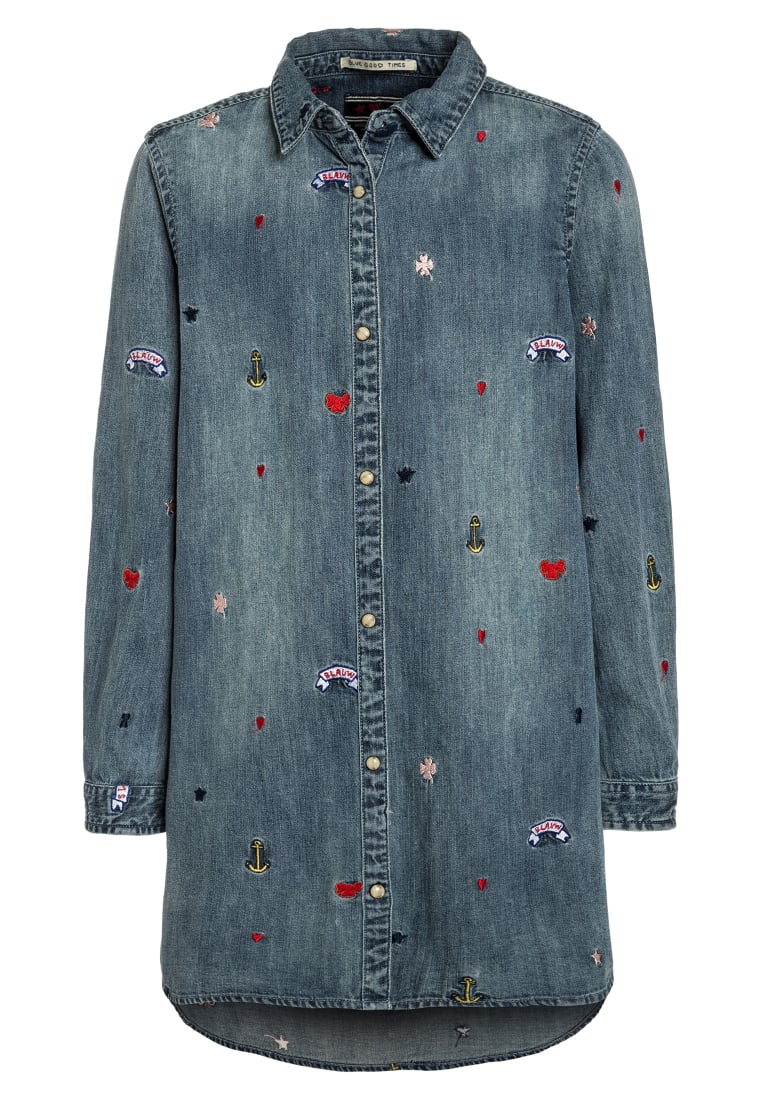 Scotch R'Belle COLORED EMBROIDERIES Sukienka jeansowa blue denim - 137929