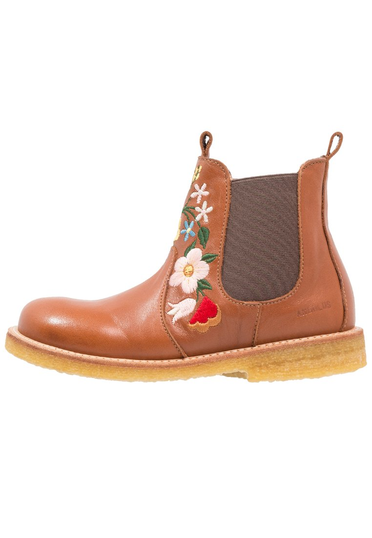 ANGULUS Botki cognac/medium brown - Chelsea boot with embroidery