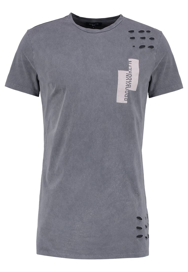 New Look ACID WASH Tshirt z nadrukiem grey - 5329239