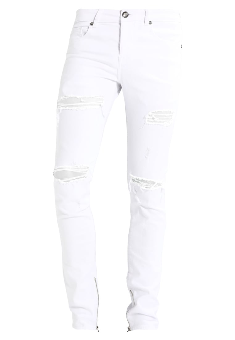 Sixth June ANKLE ZIPPER WITH DESTROY Jeansy Slim Fit white - M2457HDE