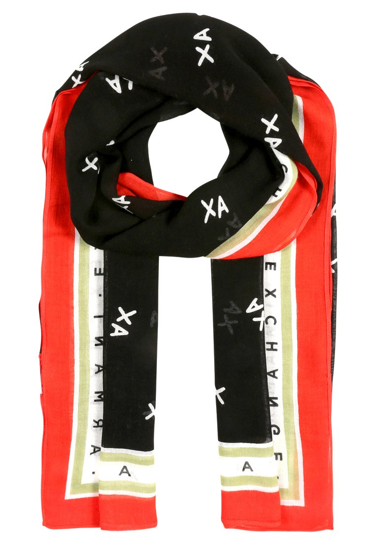 Armani Exchange FOULARD Szal black/white/poppy red - 3ZY402 YAA6Z