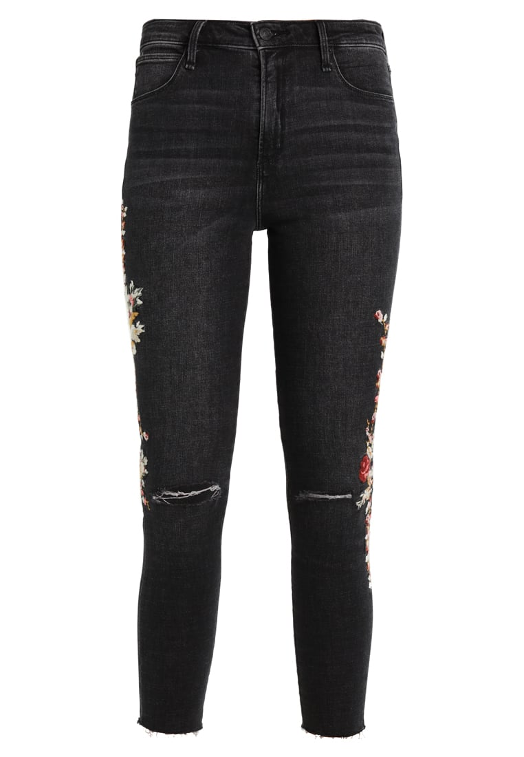 Abercrombie & Fitch EMBROIDERED HIGHRISE ANKLE JEANS Jeansy Slim Fit ripped black - KI155-7247