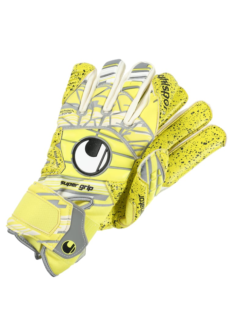 Uhlsport ELIMINATOR SUPERGRIP Rękawice bramkarskie lite fluo yellow/griffin grey/white - 1011001