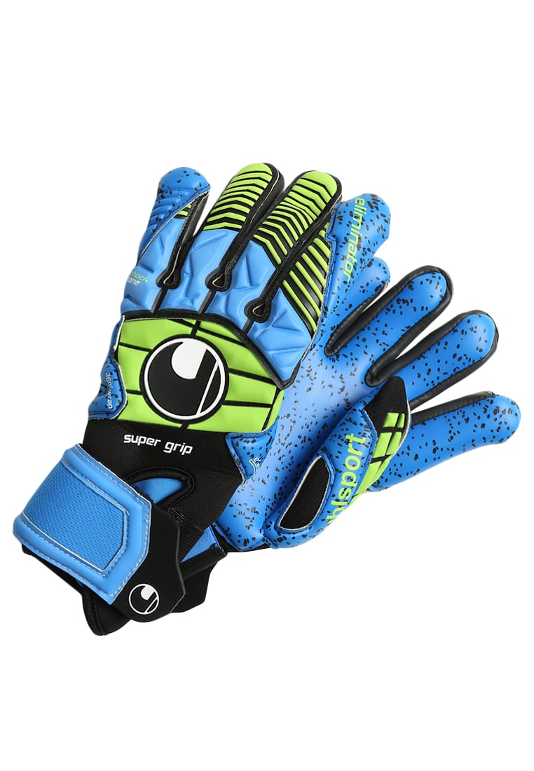 Uhlsport ELIMINATOR Rękawice bramkarskie schwarz/blau/power green - 1000158