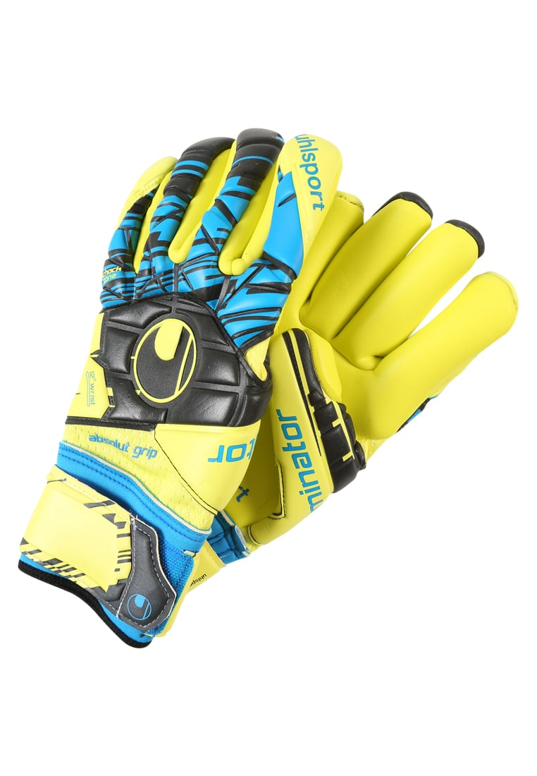 Uhlsport ELIMINATOR ABSOLUTGRIP FINGERSURROUND Rękawice bramkarskie lite fluo gelb/schwarz/hydro blau - 1011009