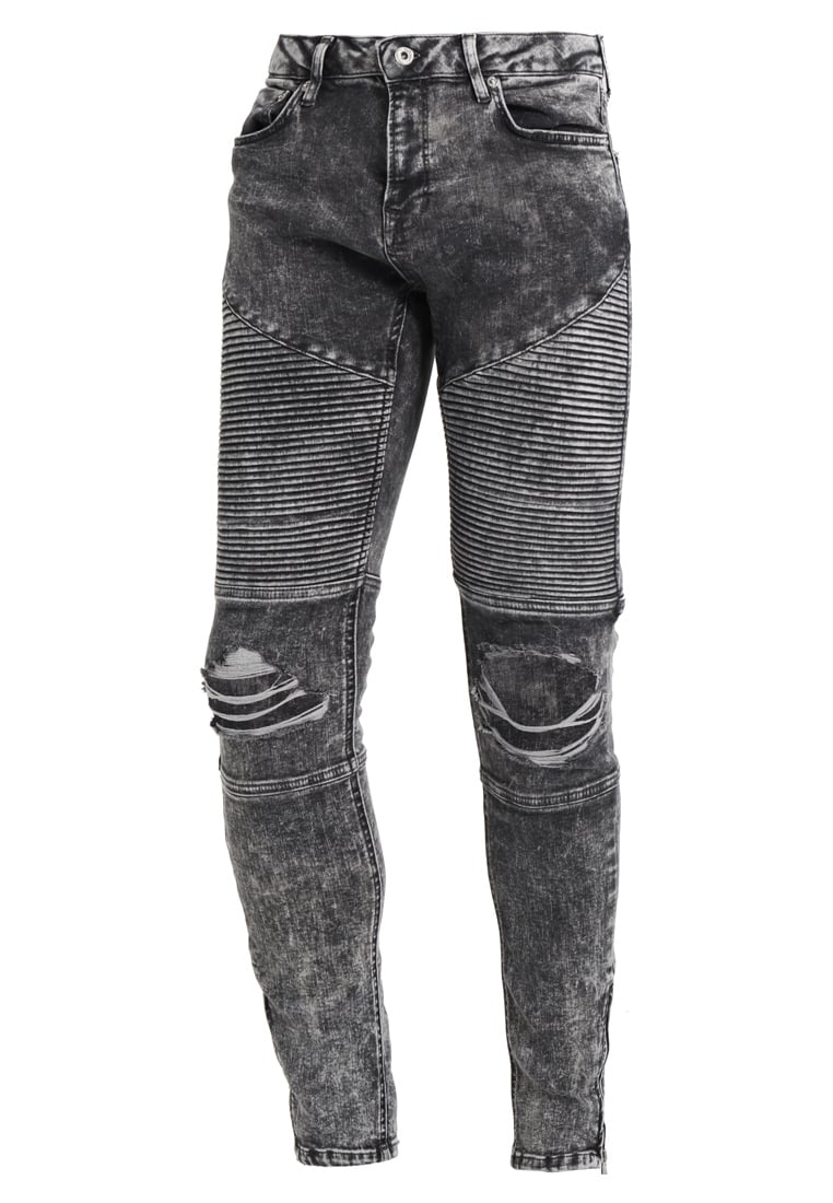 Topman ACID RIP BIKER SPRAY Jeans Skinny Fit black - 69D23PBLK