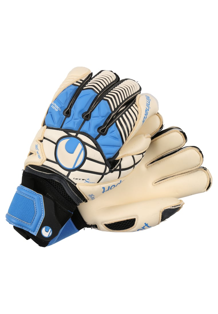Uhlsport ELIMINATOR BIONIK+ XCHANGE Rękawice bramkarskie schwarz/blau/power green - 1000156